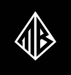 Mb logo letters monogram with prisma shape design vector