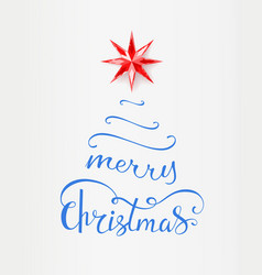 Merry christmas inscription in shape of xmas tree vector