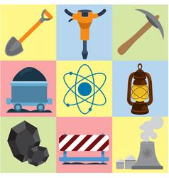 Mining energetics flat icons industry energetics vector