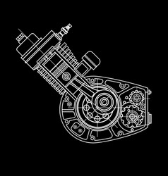 Motocycle engine design isolated in black vector
