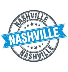 Nashville blue round grunge vintage ribbon stamp vector