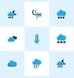 nature colored icons set collection of fog vector image