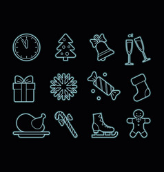 neon christmas icons vector image