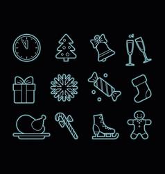 Neon christmas icons vector