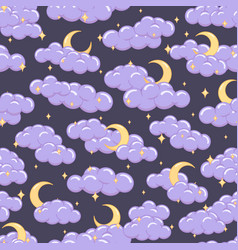 night sky seamless pattern with clouds stars moons vector image