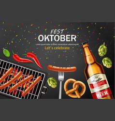 October fest poster realistic beer vector