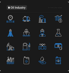 Oil industry thin line icons set vector