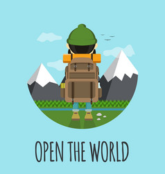 open the world hipster concept flat vector image