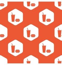 Orange hexagon fast food pattern vector image