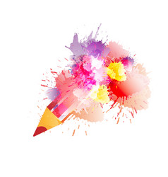 pencil with colorful splashes creativity concept vector image