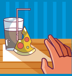 Pizza and soda vector