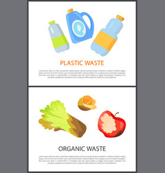 plastic and organic waste isolated on white banner vector image