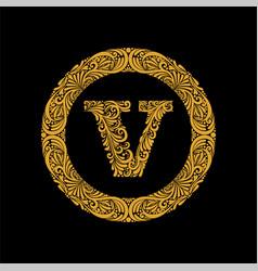 premium elegant capital letter v in a round frame vector image