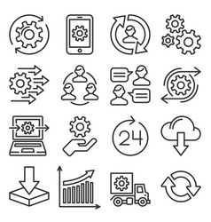 process icons set on white background line style vector image