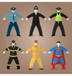 Professions set of policeman fireman and superman vector image