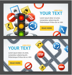 road sign drive school flyer banner posters card vector image