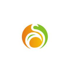 Round letter s eco logo vector