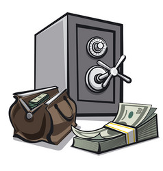 Safe and dollars vector
