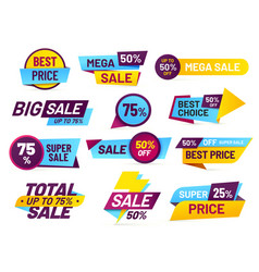 sale tags retail sales stickers promotion price vector image