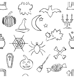 seamless doodle halloween pattern vector image