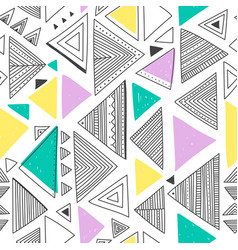 Seamless pattern with ethnic tribal boho triangles vector