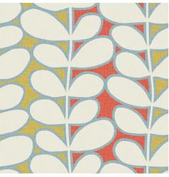 seamless scandinavian retro leaf pattern vector image