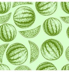 Seamless watermelon pattern Fresh fruit sketch vector