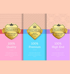set golden labels with text vector image