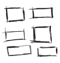 Set hand drawn rectangle vector
