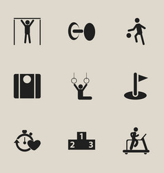 set of 9 editable healthy icons includes symbols vector image
