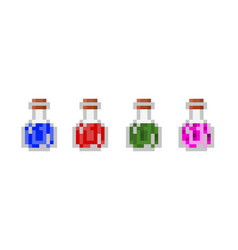 Set pixel potion bottles glass transparent vector