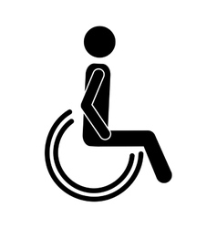silhouette of disabled icon vector image