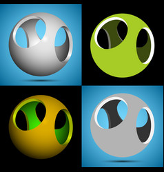 smoothed 3d sphere with openings vector image