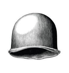 Soldier hat hand draw vintage style black and vector