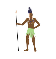 Strong african aborigine warrior with feathers vector