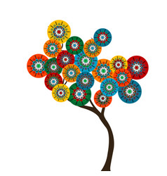 stylized tree with colored circle flowers vector image