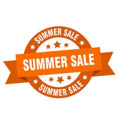 summer sale ribbon summer sale round orange sign vector image