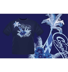 Summer t-shirt design with palm tree vector