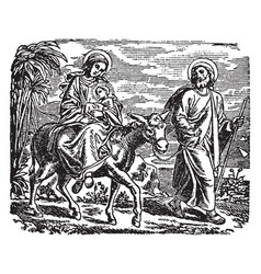 The flight into egypt - mary joseph and jesus vector