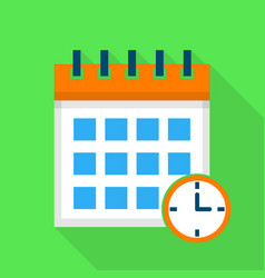 time calendar icon flat style vector image