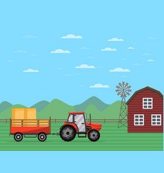 Tractor pulling trailer with hay banner vector