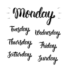 Trendy hand lettering set of days of the week vector