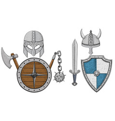 Viking armor set - helmets shields and sword axe vector