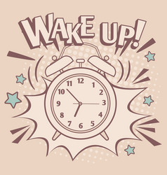 Vintage alarm wake up poster vector