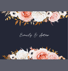 watercolor wedding invite save date card floral vector image