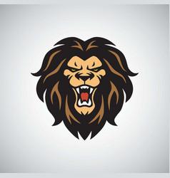 wild lion logo roaring mascot vector image