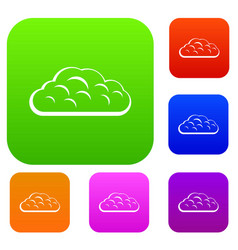 winter cloud set color collection vector image