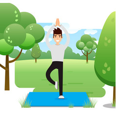 young man practicing yoga in the park vector image
