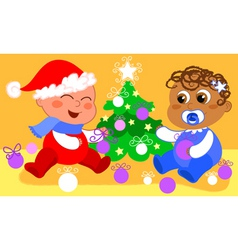babies and christmas tree vector image vector image