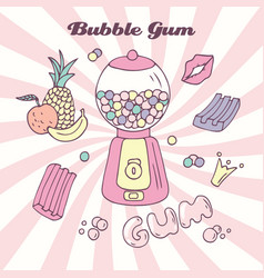 Hand drawn bubble gum machine with gumballs vector